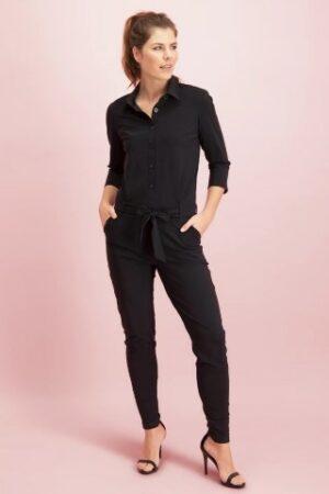 studio anneloes angelique jumpsuit 3/4 with cuff black zwart dames kleding