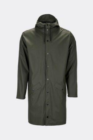rains long jacket green dames kleding regenjas raincoat groen