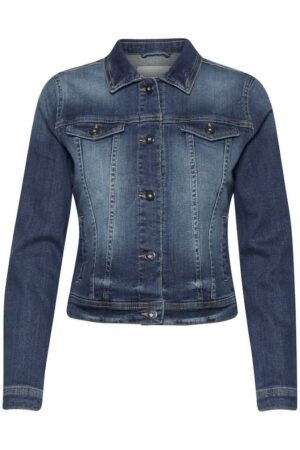 ichi jeans jack stompe medium blue wash dames kleding blauw spijkerjas