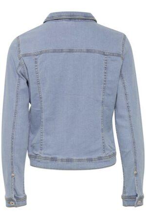 ichi jeans jack stampe washed light blue dames kleding spijkerjas lichtblauw