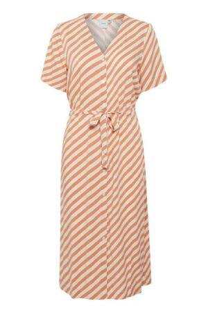 ichi jurk imara caramel sand zand strepen stripes dress