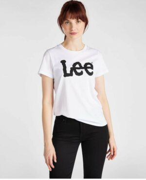 lee jeans logo t-shirt white dames kleding wit