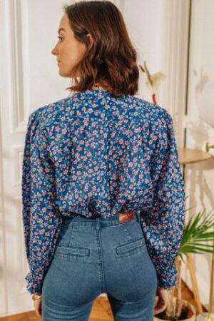 la petite etoile manel blouse cherry blossom kersenbloesem dames kleding blauw bloemen