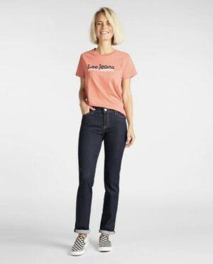 lee jeans marion classic straight rinse dames kleding spijkerbroek blauw