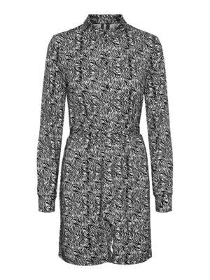 vero moda savanna ls shirt dress black white zebra jurk zwart wit dames kleding