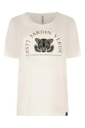 zoso t-shirt jardin off white black dames kleding zwart creme
