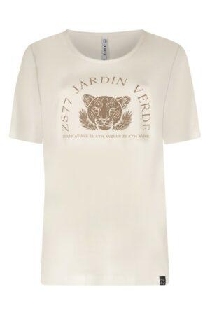 zoso t-shirt jardin off white dames kleding driftwood zand creme