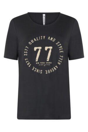 zoso t shirt madison washed blue dames kleding zandkleur met print