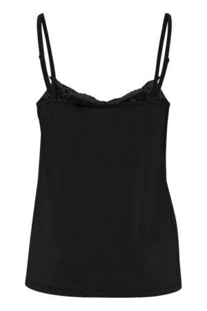 ichi top like black zwart dames kleding kant