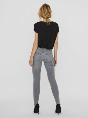 vmhanna mr sk raw edg jeans light grey denim dames kleding spijkerbroeken grijs