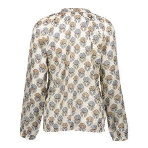 geisha blouse batik print off white sand dames kleding rok creme zand v hals v neck