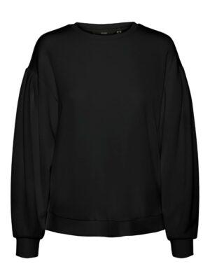 vero moda ena sweatshirt zwart black dames kleding trui met pofmouwtjes wijde mouwen
