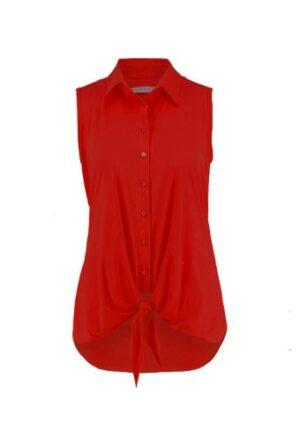 studio anneloes poppy knot sleeveless blouse red rood top blouse dames kleding