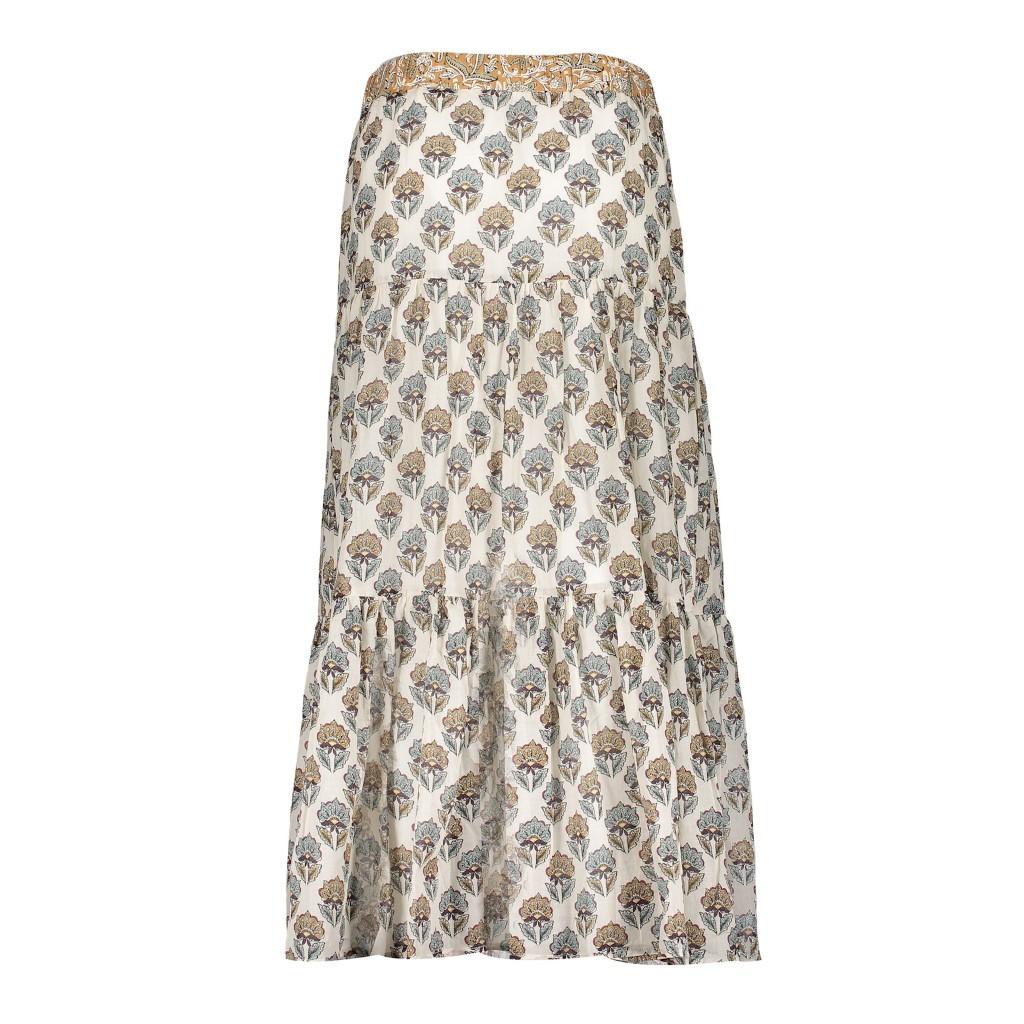geisha skirt off white sand long skirt dames kleding lange rok print zand