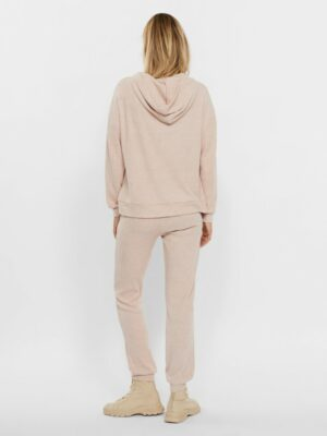 vero moda tia rib oversized hoodie mocca mousse trui met capuchon roze