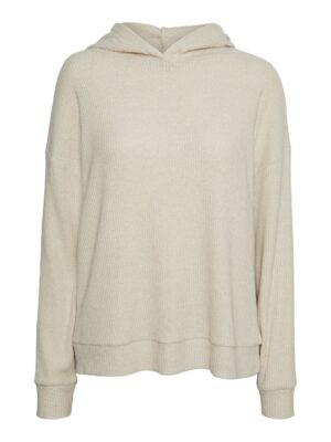 vero moda tia rib oversized hoodie oatmeal trui met capuchon beige zand