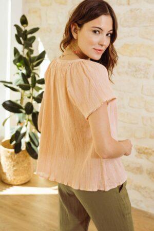 la petite etoile greco top blouse rose petal dames kleding