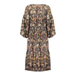geisha maxi dress jurk lang grey mustard grijs geel dames kleding