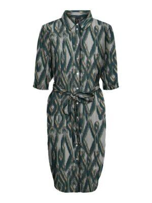 vero moda annabelle shirt dress laurel wreath green dames kleding jurken jurk