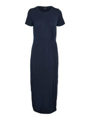 vero moda ava lulu ss ancle dress navy blazer donkerblauw blauw jurk lang dames kleding