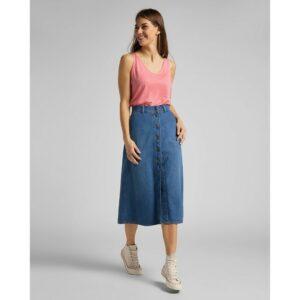 lee jeans button through long skirt mid wick spijkerrok blue spijkerbroek dames kleding