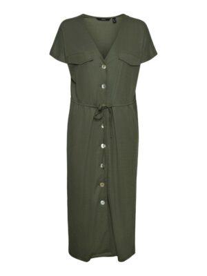 vero moda ina maria ss wide calf shirt dress laurel wreath green groen doorknoopjurk jurk dames kleding