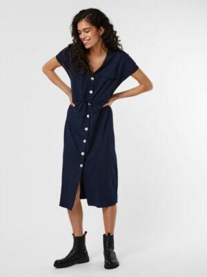 vero moda ina maria ss wide calf shirt dress navy blazer jurk doorknoop korte mouwen donkerblauw dameskleding