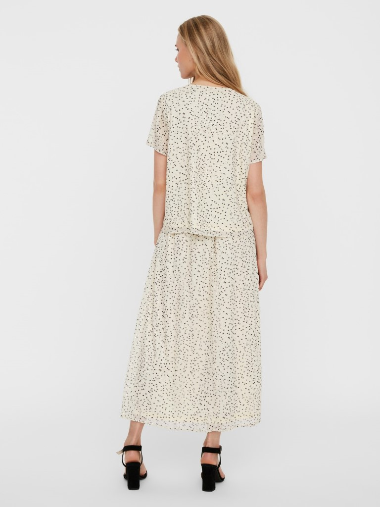 vero moda jot ss top birch gold black dots zand sand goud zwart stippen blouse dames kleding