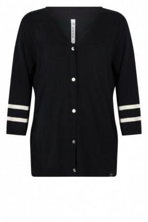zoso knitted cardigan kazan navy white dames kleding donkerblauw wit vest