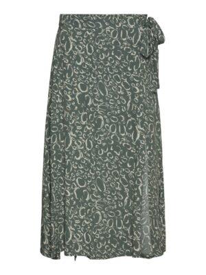 vero moda liva high waist calf skirt laurel wreath rok wikkel groen green dames kleding