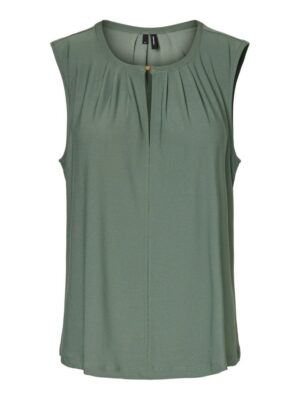 vero moda milla sl button top laurel wreath green groen mouwloos bloesje dames kleding