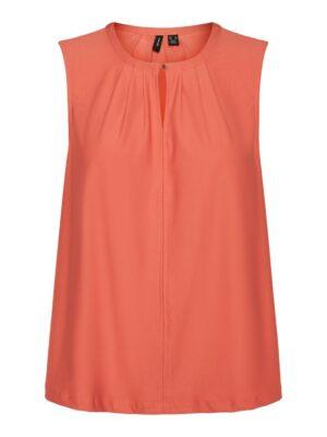 vero moda milla sl button top spiced coral orange oranje dames kleding blouse