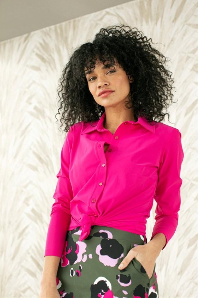 studio anneloes poppy shirt fuchsia blouse hot pink roze dames kleding