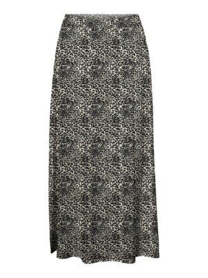 vero moda simply easy maxi skirt birch agnes zand sand black pantherprint dames kleding rok