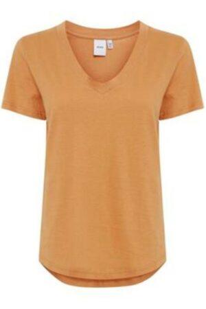 Ichi t-shirt hilmi caramel oranje orange v-hals dames kleding