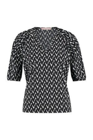 studio anneloes amelie zig zag shirt black off white zwart wit dames kleding