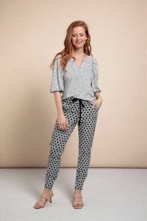 Bo aan cheeta blouse off white black studio anneloes wit zwart gestippeld dames kleding