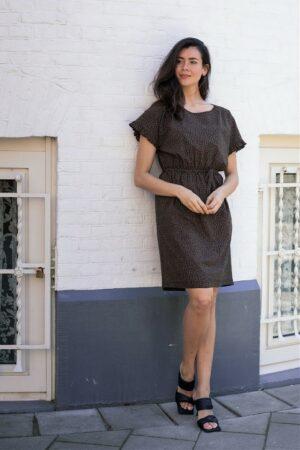 studio anneloes celeste minimal dress black caramel jurk zwart bruin dames kleding