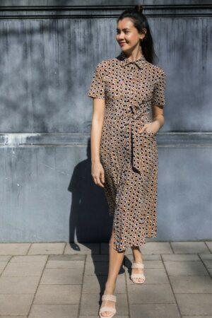 studio anneloes cindy ssl circle dress caramel black jurk bruin zwart dames kleding