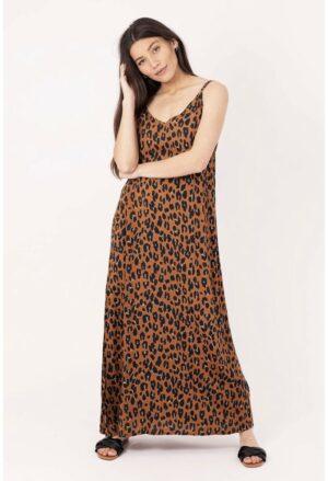 palme dress with Animal print camel jurk bruin zwart dames kleding