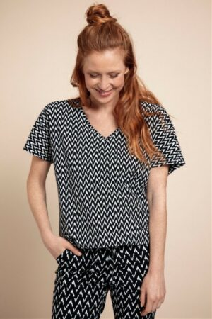 studio anneloes made small zig zag shirt black off white zwart creme wit dames kleding