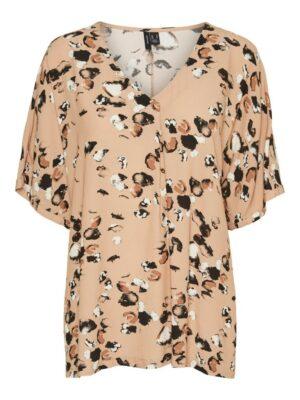 vero moda nora esther ss top tan shirt blouse dames kleding
