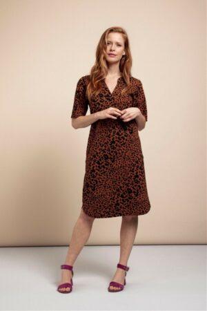 studio anneloes stella animal dress cinnamon black jurk rood bruin dames kleding