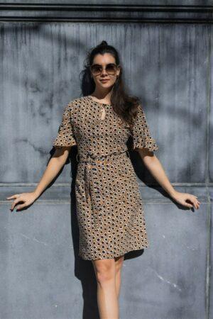 studio anneloes thursday circle dress caramel black bruin zwart jurk dames kleding