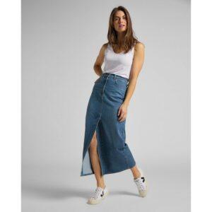 lee jeans ultra long split skirt vintage lewes spijkerrok lang blauw dames kleding